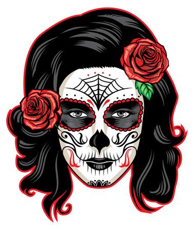 Dziewczyna w makijażu twarzy czaszki cukru