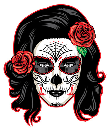 Girl in sugar skull face makeup Stock Illustratie