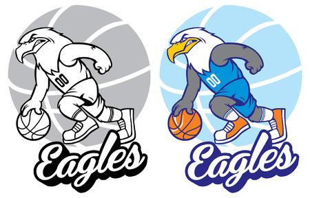 Set of eagle basketball mascot Çizim
