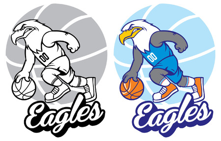 Set of eagle basketball mascot Illustration