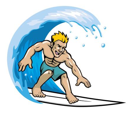 Man surfing, water sport illustration