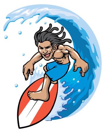 Man enjoying while playing surf, water sport illustration