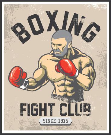 Retro poster conception boxe combattant Banque d'images - 93803882