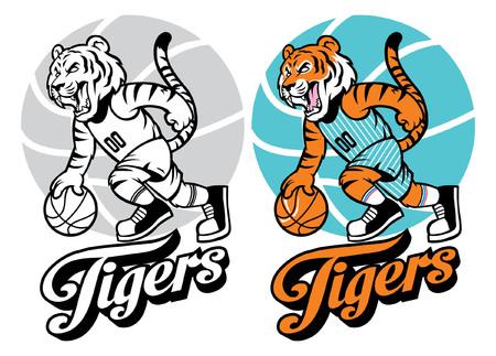 セットでバスケットボールのマスコットとして虎  イラスト・ベクター素材