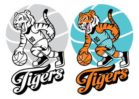 tiger as basketball mascot in set 版權商用圖片 - 93803883