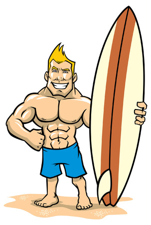 muscular happy man of surfer Stock Illustratie