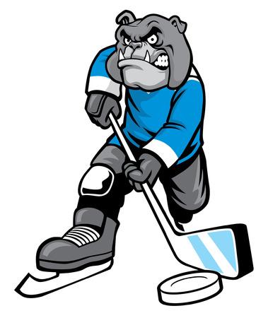 buldog plying ice hockey Ilustrace