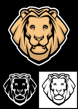 set of lion head mascot Ilustrace