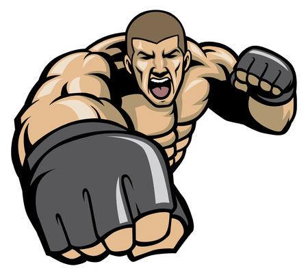 boos op MMA-jagerskarakter Stock Illustratie