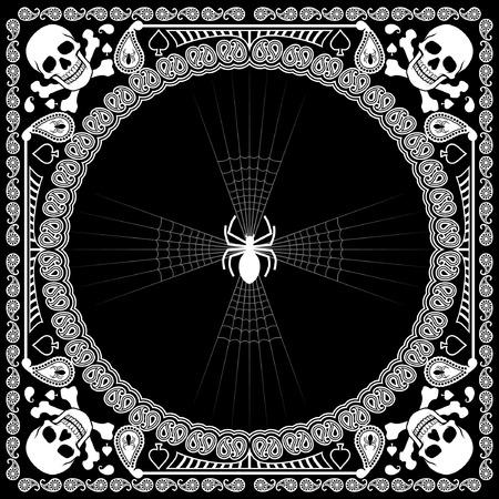 거미줄과 두개골의 스카프 디자인 일러스트