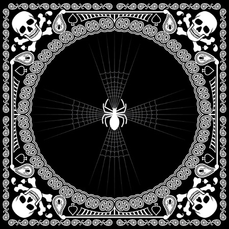 scarf design of spiderweb and skull