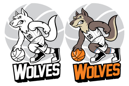 set of wolf character playing basketball