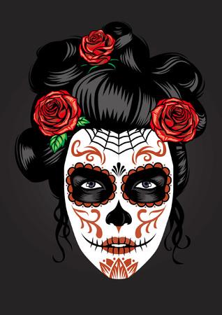 girl face in sugar skull make up style Ilustração