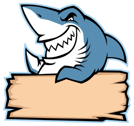 angry shark cartoon mascot with blank plank for text space
