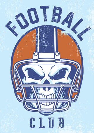 skull wearing football helmet in retro dirty texture style
