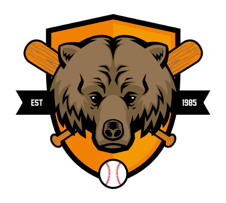 bear head as baseball mascot