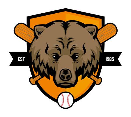 bear head as baseball mascot