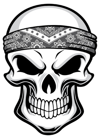 schedel die hoofdbandana draagt