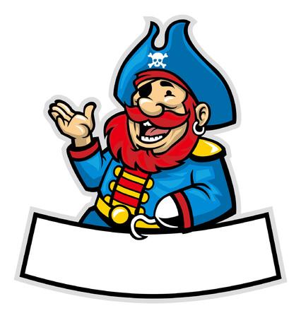 空白のスペースバナーを持つ幸せな海賊のマスコット