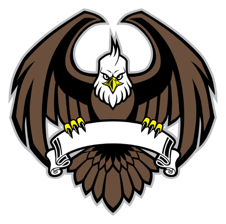 eagle mascot hold the blank ribbon