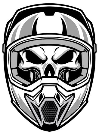 skull wearing motocross helmet Illustration