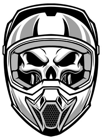 skull wearing motocross helmet Stock Illustratie