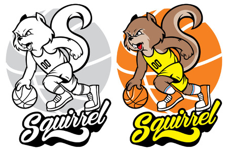 set of squirel basketball mascot Ilustrace