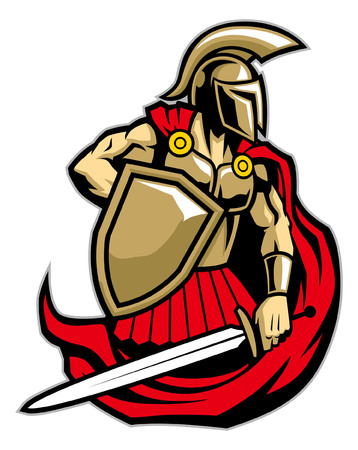 spartan army mascot illustration Stock Illustratie