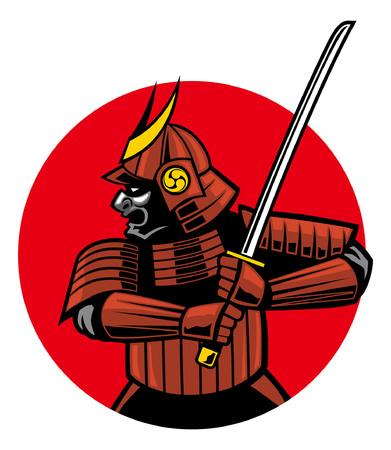 samurai warrior in sport mascot style illustration  イラスト・ベクター素材