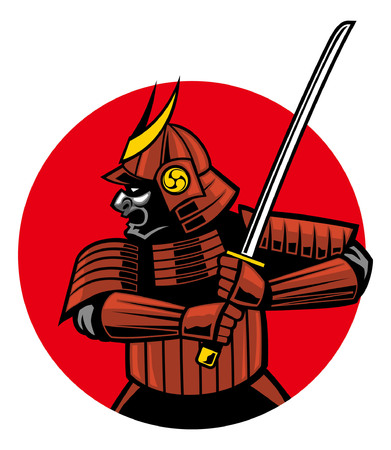 samurai warrior in sport mascot style illustration Çizim