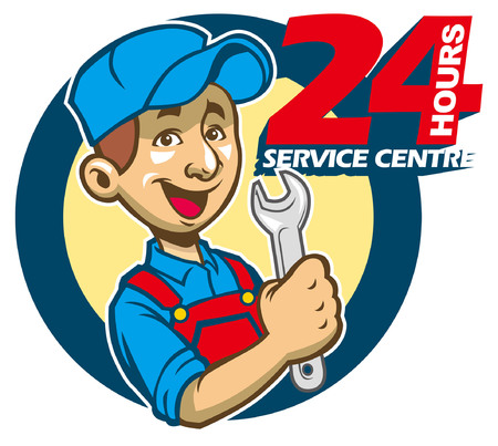 the happy mechanic man holding a tool with 24hr service center text