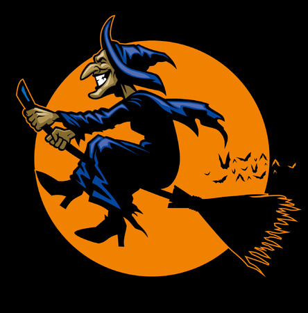 the witches riding the flying broom Banco de Imagens - 94680472