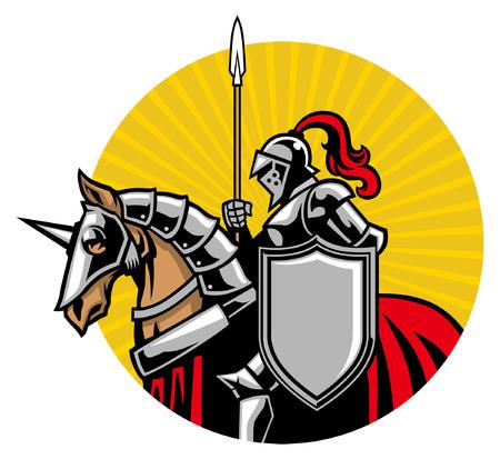 knight mascot riding the horse illustration