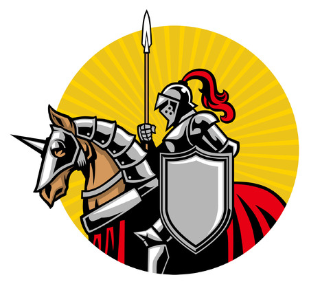 knight mascot riding the horse illustration