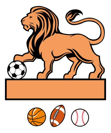 ライオンのマスコットスタンスは、サッカーボールを保持します 写真素材 - 94682823
