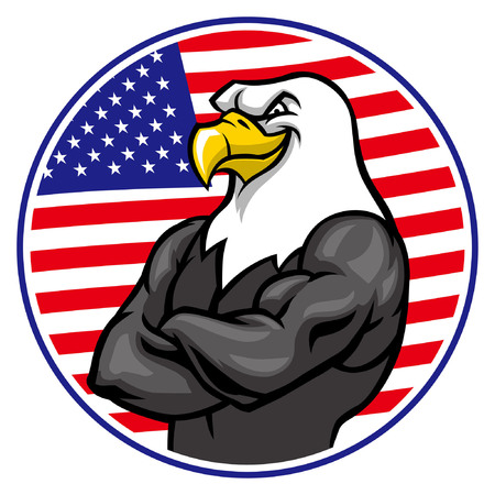 Eagle bird in crossing arm pose with USA flag background