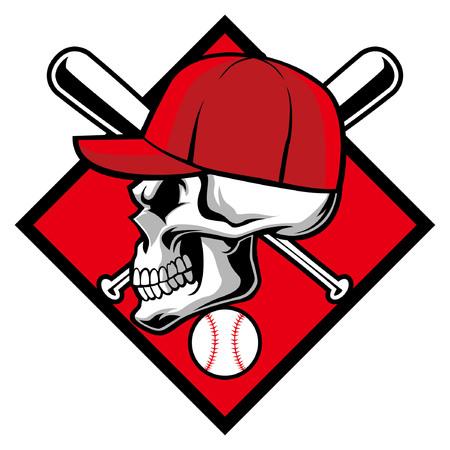 白い背景に隔離された頭蓋骨の野球マスコット