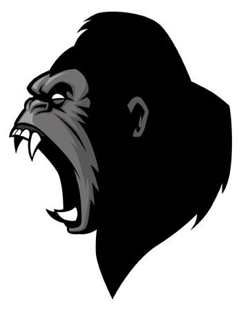 Boos brullend die gorillahoofd op witte achtergrond wordt geïsoleerd Stock Illustratie