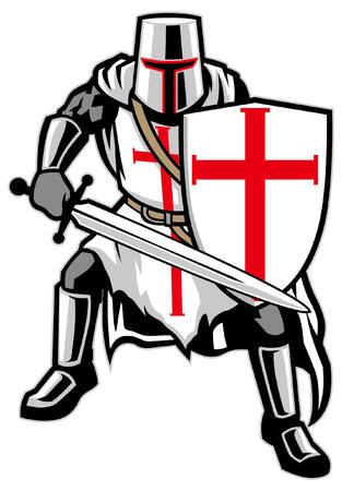De middeleeuwse mascotte van de ridderstrijder die op witte achtergrond wordt geïsoleerd