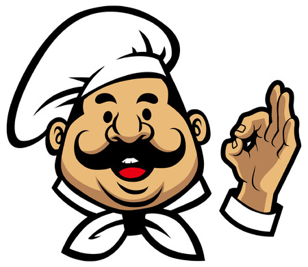 Chef mascot with okay hand sign isolated on white background