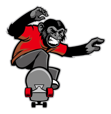Jumping chimpanzee playing skateboard isolated on white background