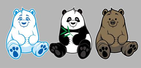 Set von niedlichen Bären isoliert auf weißem Hintergrund Standard-Bild - 94679552