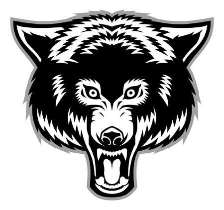 白い背景に隔離されたオオカミの頭  イラスト・ベクター素材