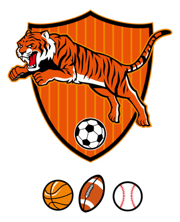Jumping tiger sport mascot in shield isolated on white background Illustration