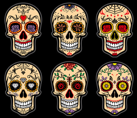 Collection of traditional sugar skull vector isolated on white background Ilustração