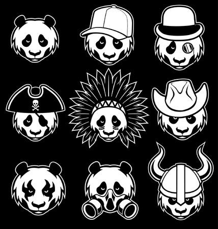 Collection of panda head Foto de archivo - 95618695