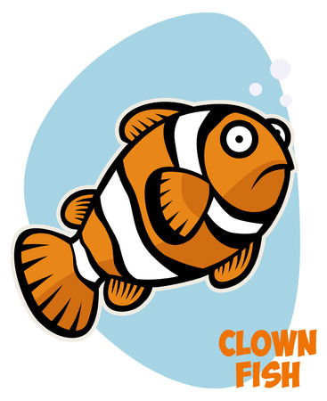 Clown fish in cartoon style 向量圖像