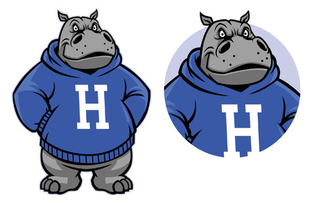 Hippo mascot in set Illustration