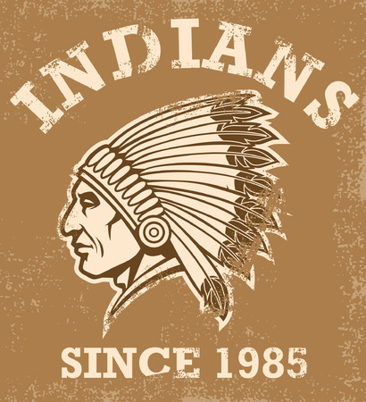 Indian chief mascot in the vintage style