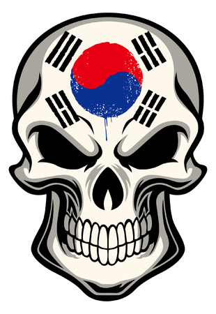 South Korea flag painted on the skull